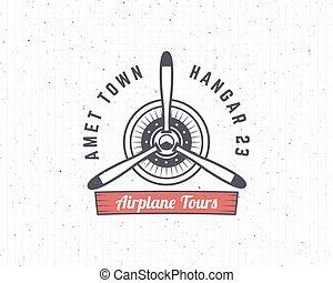 aire, biplano, diseño, viaje, emblem., blanco, logo., vector, aislado, retro, t, aviación, propulsor, textured, avión, label., stamp., fondo., insignia, logotype., vendimia, shirt., viaje, impresiones, elements., avión