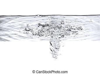 aire, burbujas, en, agua