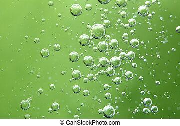 aire, burbujas, en, un, liquid., resumen, verde, fondo.,...