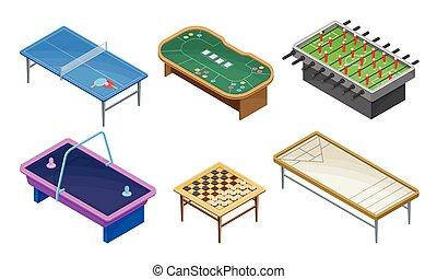 aire, conjunto, mesas, vector, tenis, tabla, tabla, partidos...