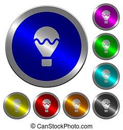 aire, globo, luminoso, coin-like, redondo, color, botones