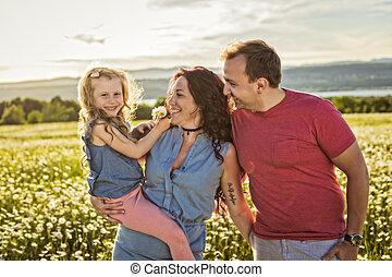 aire libre, familia , juntos, tiempo, sunset., teniendo, ...