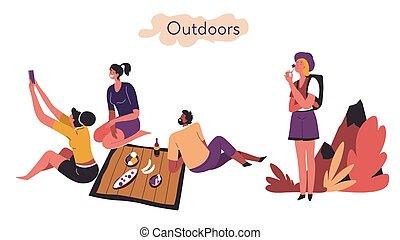 aire libre, introvertido, vector, extrovertido, comparación...