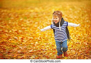 aire libre, juego, otoño, niño, piloto, aviador, feliz