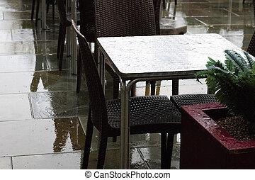 aire libre, mesas, restaurante, abandonado