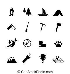 aire libre, turismo, campamento, pictograms