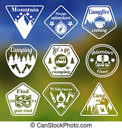 aire libre, turismo, campamento, plano, emblemas, conjunto
