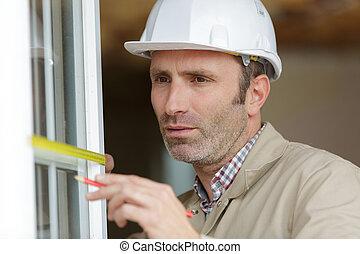 aire libre, ventana, prior, instalación, hombre, obturador, ...