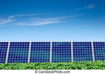 aire limpio, y, panel solar
