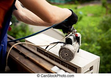 aire, maestro, condicionamiento, instalar, nuevo, conditioner., wall., preparando, perforación