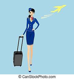 aire, mujer, hostess., clothes., funcionario