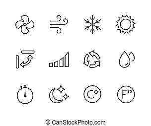 aire, thinline, condicionamiento, iconos