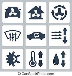 aire, vector, conjunto, condicionamiento, iconos