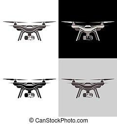 aire, zángano, quadrocopter, aéreo, icono, conjunto