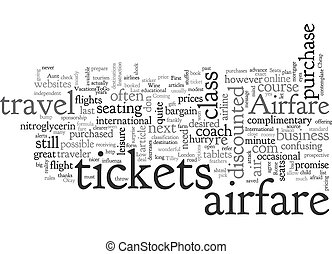 Airfare for the Wayfarer text background wordcloud concept