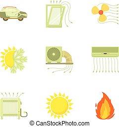 Airflow set, cartoon style