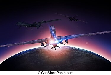 Airforce Drones Mission Concept Illustration. Military...
