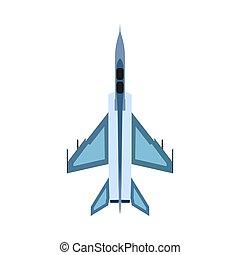 airforce., vecteur, combattant, guerre, sommet, ciel, avion, baston, attaque, avion, conception, militaire, icon., bombardier, technologie, vue