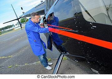 airframe mechanic at work