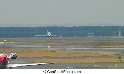 Airfreighter landing at heat haze