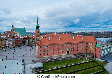 Royal Castle and the Castle Square in Old Town of Warsaw, Poland