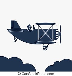 Airlane illustration, airplane icon, Aircraft in the sky. vector