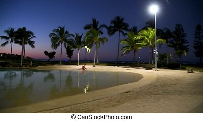 Airlie Beach Fairy Tree Park at night, Queensland, Australia. Slow motion.