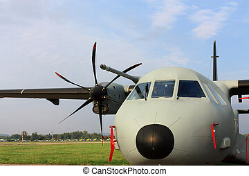 Airlifter - Military transport turbojet aircraft parked at...