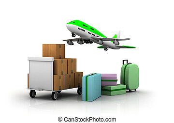 Airline and luggage%u2019s - 3d luggage%u2019s and hand bag ...