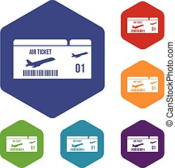 Airline boarding pass icons set