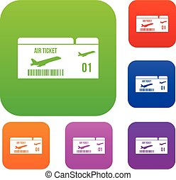 Airline boarding pass set collection