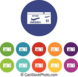 Airline boarding pass set icons