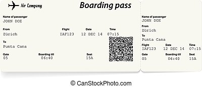 Airline boarding pass ticket with QR2 code