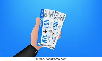 Airline boarding pass tickets to plane for travel journey. Airline tickets. stock illustration