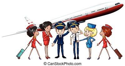 Airline crews and jet plane illustration