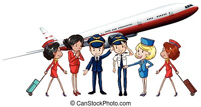 Airline crews and jet plane illustration
