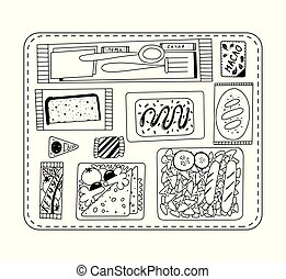 Airline food. Lunch on a board. Black and white illustration for coloring book. Vector outline illustration.