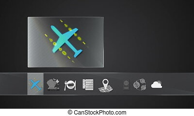 Airline icon for travel contents.Digital display...