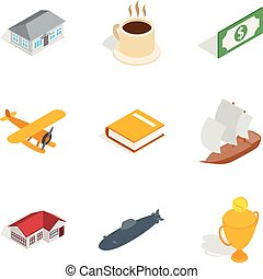 Airline icons set, isometric style