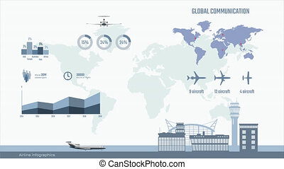 Airline infographics. Graphs and diagram of transportation...