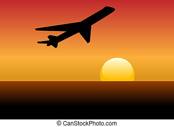 Airline jet silhouette takeoff into sunset or dawn