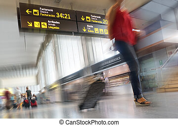 Airline Passengers - Airline passengers inside an...