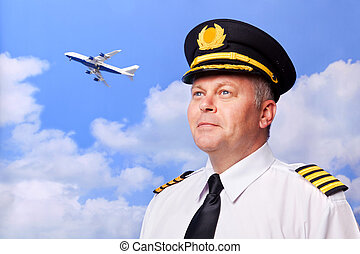 Airline pilot - Photo of an airline pilot wearing the four...