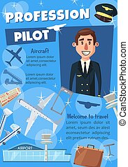 Airline pilot poster for hiring or travel agency