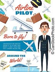 Airline pilot profession, captain in uniform
