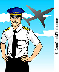 Airline pilot wearing shirt and tie with epaulets and hat. ...