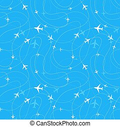 Airline routes with planes in blue skies, seamless pattern -...