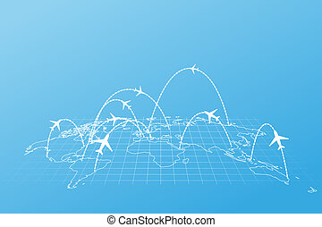Airline routes with planes on world map in perspective on blue background