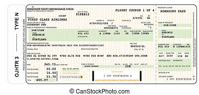 A realistic illustration of an airline ticket and boarding pass.