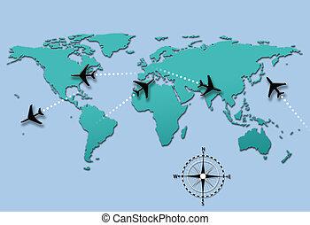 Airline travel plane flight paths on world map